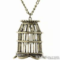 2012 new style vintage bird cage zinc alloy pendant necklace