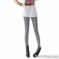 2012 Seamless Design Leggings, White and Black Vertical Stripes