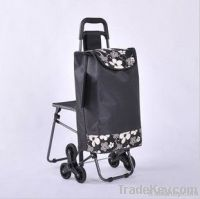 portable and foldable shopping cart with six wheels and stool