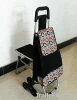 Six wheels shopping cart with stool