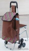 straight handle shopping cart with sack and stool