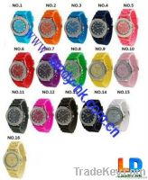 Geneva Silicone Crystal Accented Bezel Watches for Ladies and Mens