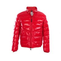 Mon-cler Down Slim Men Jackets With Bright Red And Mock Collar