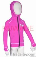 UV50+ children long sleeve rash guard hoodies with front zipper