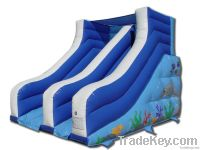Inflatable dry slide for land use