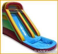 Inflatable water slide for land use