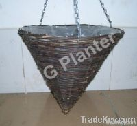 Cone rattan hanging basket