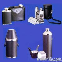stainless steel leather hip flask