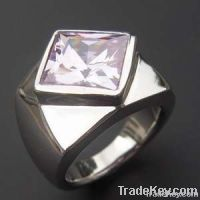 2012 fashion steel ring with a big red crystal