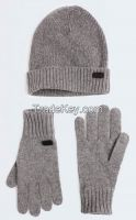 Winter 100% Pure Cashmere Knitting Knit  knitted Cable Glove with Ribbed Cuff