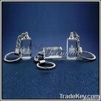 2D Laser engraved crystal keychain ring with the led light