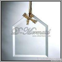 2012beveled crystal glass christmas ornament
