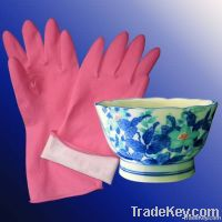 Dipped flock lined latex household gloves