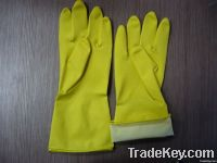 Spray flock lined latex household gloves