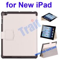 Lichee Pattern Leather Protective Case Cover for New iPad, stand case