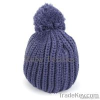 children's cable beanie hat with pom pom