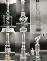 2018 new heavy glass water pipe glass bong with lookah