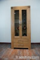 solid oak showcase cabinet with drawer