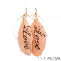 Love feather drop earrings