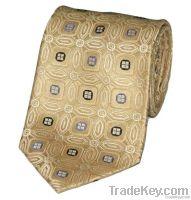 Yellow Gold Pattern Silk Tie