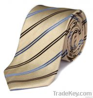 Gold Double Striped Silk Tie