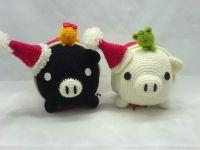 handcraft doll & puppet-black white pig