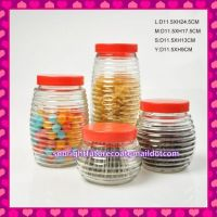 4pcs set clear drum design glass jars with plastic lid