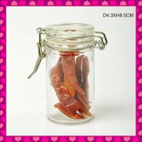 cylinder glass spice jar with glass lid and metal clip holder