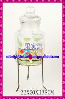hexahedron glass dispenser with spigot and metal stand