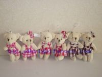 stuffed small couple bears with keyring in check overalls