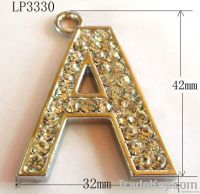 Rhinestone Alloy Initial Letter Charms Pendant