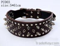 Rivet Studded Genuine Leather Dog Necklace
