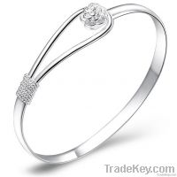 Silver Plated Copper Petal Pattern Bangle