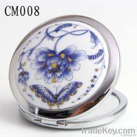 68mm Decal Peony Ceramic Round Foldable Make Up Mirror