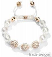 shamballa pearl bracelet womens fashion charm bracelet white pearl