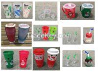 Christmas decoration/x'mas plastic bottle/cups/bowls/trays/plates