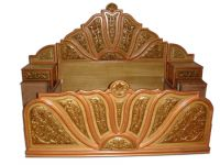 Teak wood hand carved double bed