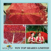 Red Wedding Bridal Umbrella with Embroidery