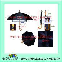 Auto Black Wooden Umbrella with Details