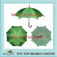 Tropic Banana Leaves Design Auto Wooden Umbrella