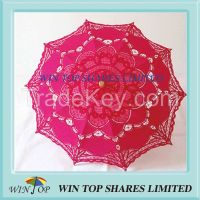 Chinese 38cm wooden embroidery cotton umbrella