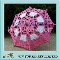 19cm China wooden embroidery cotton parasol
