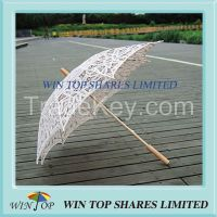 Chinese wood embroidery beige cotton umbrella