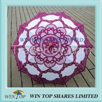 China Classical purple and white cotton parasol