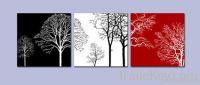 black white red flower canvas prints 3panels
