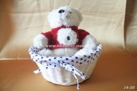 Rattan basket lined with cloth