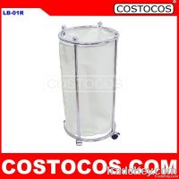 Round Rolling Laundry Hamper (Chrome)
