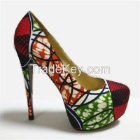 African Wax Fabric Women High heel Dress Shoes