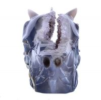 """4.8"""" Geode Amethyst Dragon Skull Carving for Home Decoration and Fengshui (9Z89)"""