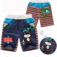 Denim Strip Check Cute Monkey Print Baby Boy Shorts 5pcs/Lot Wholesale Children Trousers